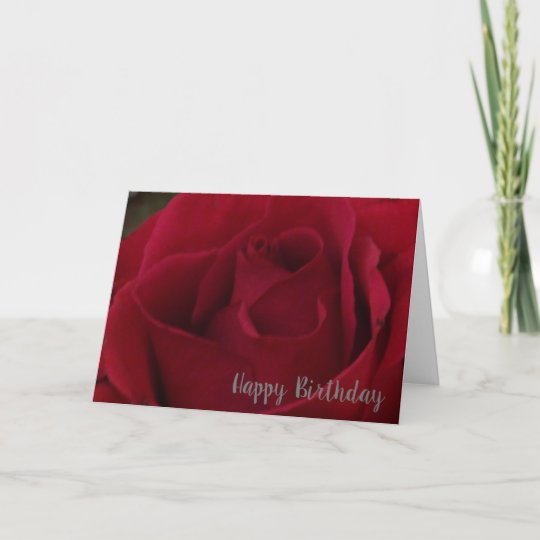Classic Red Rose Happy Birthday Greeting Card