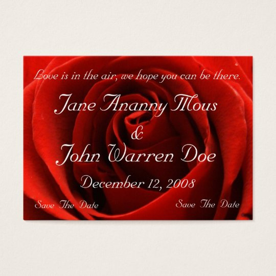 Classic Red Rose Save the Date Card