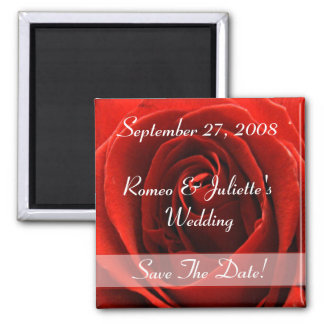 Classic Red Rose Wedding Announcement Magnet