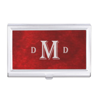 Classic Red Silver Monogram Business Card Holders