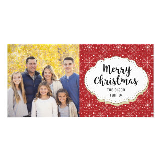 Classic Red Snowflakes Christmas Photo Card