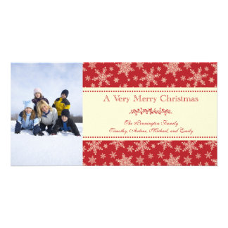 Classic red snowflakes Merry Christmas photocard Photo Cards