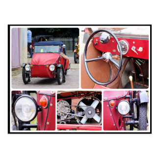 Classic red velorex tricycle car collage postcard