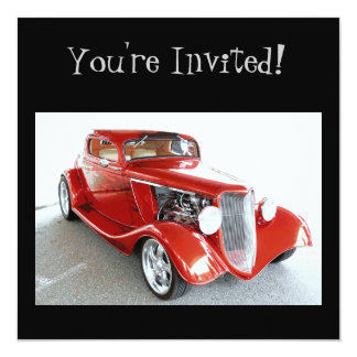 Classic Red Vintage Car -  You're Invited! 13 Cm X 13 Cm Square Invitation Card