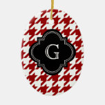 Classic Red White Houndstooth With Monogram Christmas Tree Ornaments