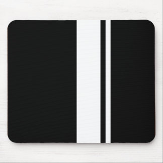 Classic Retro Black & White Race Car Stripes Mouse Mat