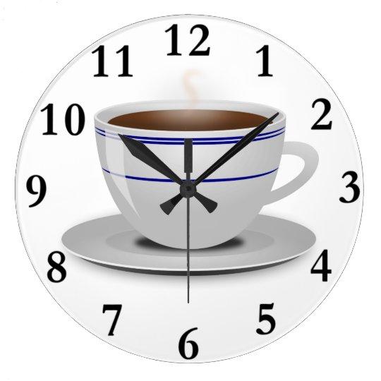 Classic Retro Cafe Coffee Cup White Blue Stripes