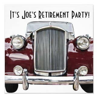 Classic Retro Vintage Car Retirement Party Invites