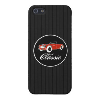 Classic Retro Vintage Convertible Car On Pinstripe Cover For iPhone 5/5S