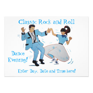 Classic Rock and Roll Jive Dancing Blue Suit Invitations