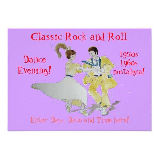 Classic Rock and Roll  Jive Dancing Custom Invitation