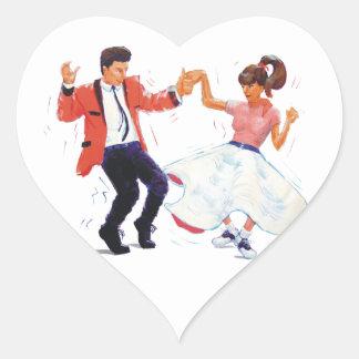 classic rock n roll jivers cartoon heart sticker