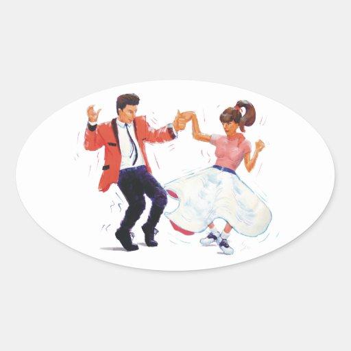 classic rock n roll jivers cartoon oval sticker