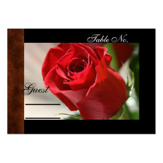 Classic Rose & Leather Wedding PlaceCard Pack Of Chubby Business Cards