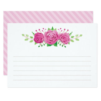 Classic Rosiness Blank Lined Wedding Note Card