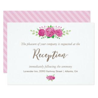 Classic Rosiness Reception Card 13 Cm X 18 Cm Invitation Card