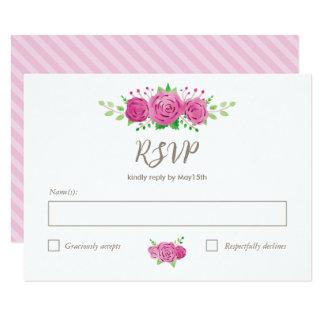 Classic Rosiness RSVP Card 9 Cm X 13 Cm Invitation Card