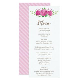 Classic Rosiness Wedding Menu Card 10 Cm X 24 Cm Invitation Card