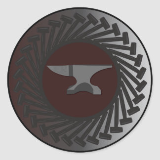 Classic Round Sticker, Glossy - ANVIL & HAMMERS Classic Round Sticker