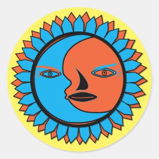 Classic Round Sticker MOON SUN REFLECTION