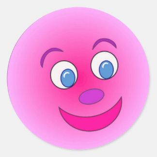 Classic Round Sticker/Purple Smiley Face Round Sticker