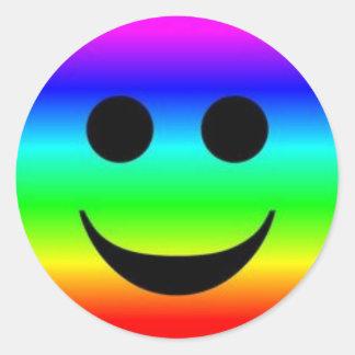 Classic Round Sticker/Rainbow Smiley Face Round Sticker
