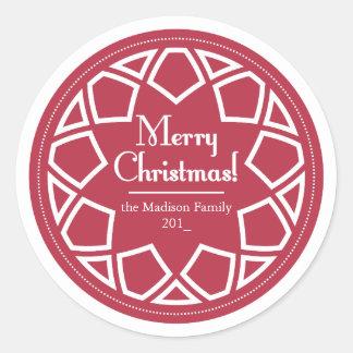 Classic Round Sticker-Red&White -Merry Christmas! Classic Round Sticker