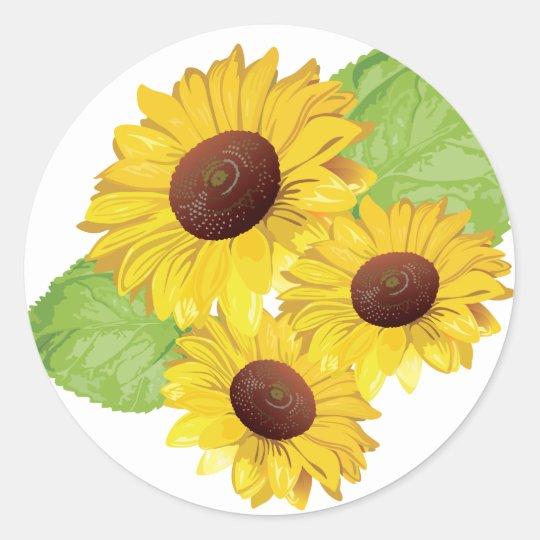 Classic round sticker sunflower motive
