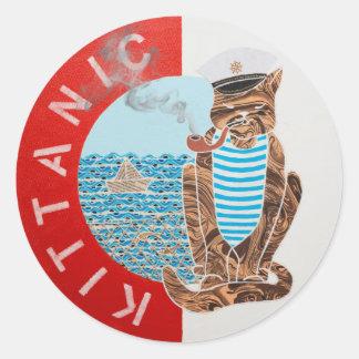 Classic Round Sticker w/ Captain Cat
