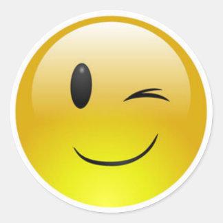 Classic Round Sticker/Winking Emoticons Round Sticker