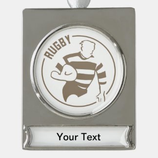 Classic Rugby Silver Plated Banner Ornament