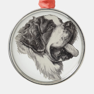 Classic Saint Bernard Dog Portrait Drawing Christmas Ornament