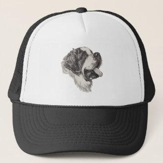 Classic Saint Bernard Dog Portrait Drawing Trucker Hat
