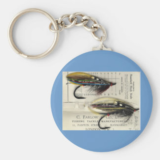 Classic Salmon Fly on card Basic Round Button Key Ring