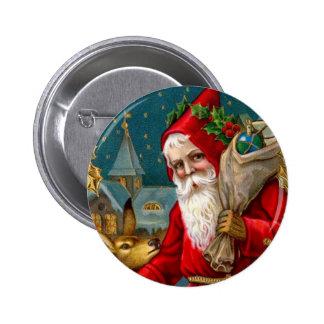 Classic Santa and Deer Christmas 6 Cm Round Badge