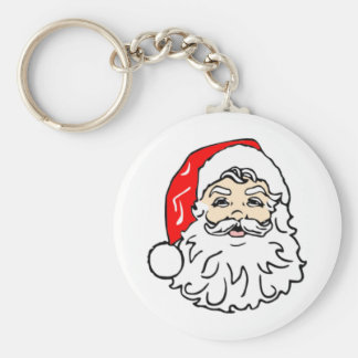 Classic Santa Claus Basic Round Button Key Ring