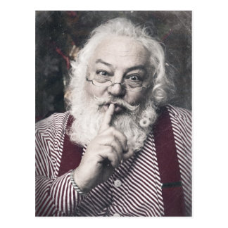 Classic Santa Claus telling you to be quiet Postcard