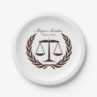 Classic Scales of Justice Law School Graduation 7 Inch Paper Plate