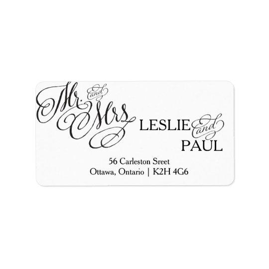 Classic Scroll Font Wedding Address Label