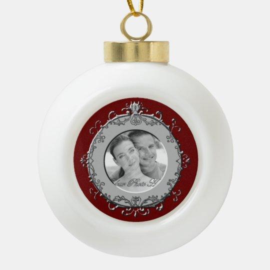 Classic Scrolls Photo Frame (Silver) Ceramic Ball Christmas