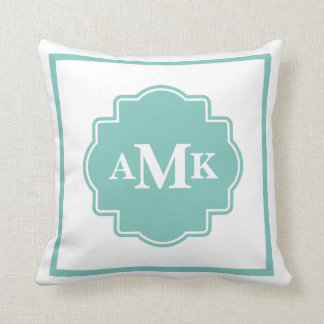 Classic Seafoam Green and White Monogram Pillow