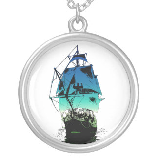 Classic Ship Silver Plated Necklace