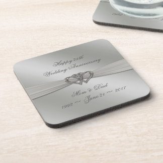 Classic Silver 25th Wedding Anniversary Coasters