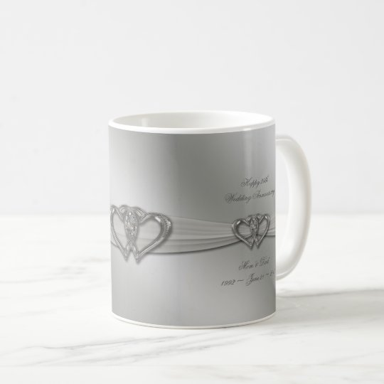 Classic Silver 25th Wedding Anniversary Coffee Mug