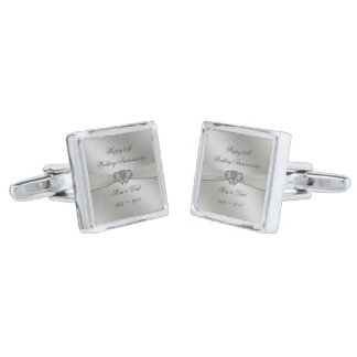Classic Silver 25th Wedding Anniversary Cufflinks Silver Finish Cufflinks