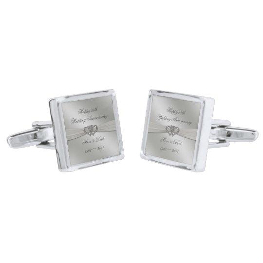 Classic Silver 25th Wedding Anniversary Cufflinks Silver Finish