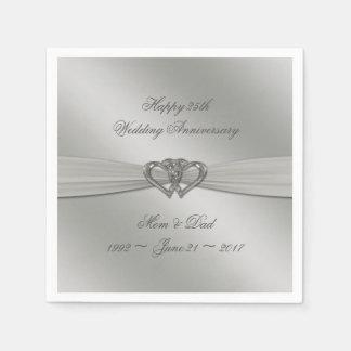 Classic Silver 25th Wedding Anniversary Napkins Disposable Napkins