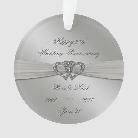 Classic Silver 25th Wedding Anniversary Ornament