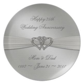 Classic Silver 25th Wedding Anniversary Plate