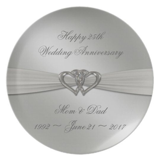 Classic Silver 25th Wedding Anniversary Plate